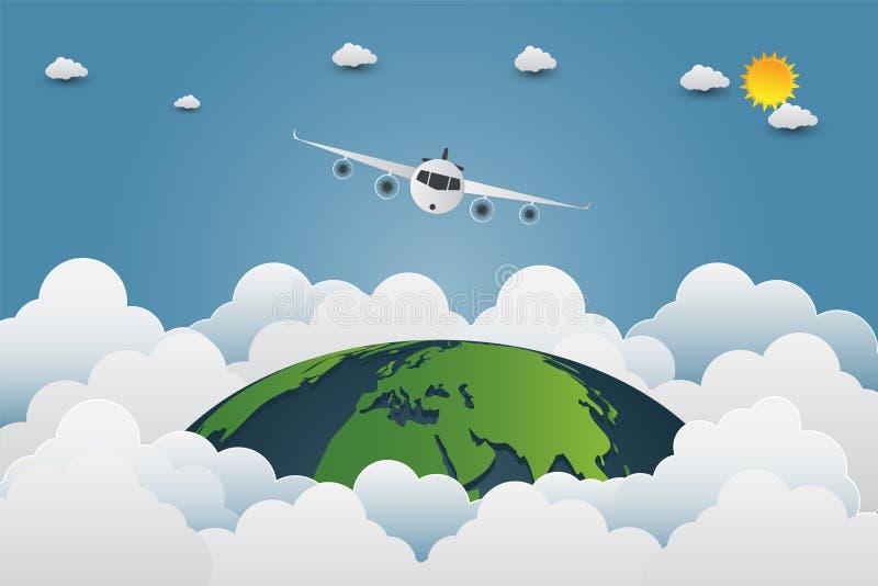 Vliegtuig die door de wereld, aardezonnen met een verscheidenheid van wolken vliegen stock illustratie