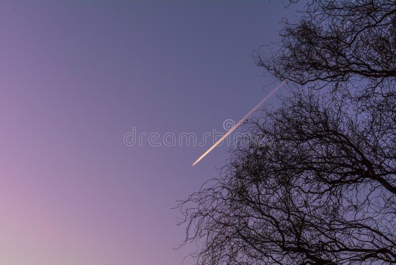 Vliegtuig die door een purpere hemel vliegen royalty-vrije stock afbeeldingen