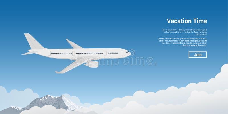 Vliegtuig die hoog vliegen stock illustratie