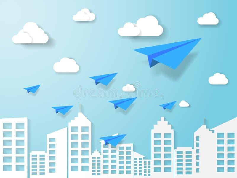 vliegtuig die op blauwe hemel met wolk en de bouw vliegen illustratie van bedrijfs en leidingsconcept aardlandschap met document  royalty-vrije illustratie
