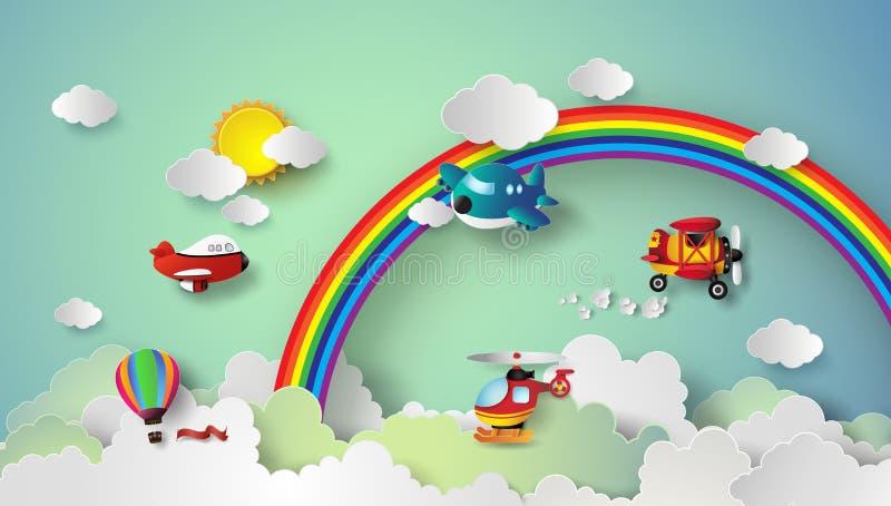 Vliegtuig die op hemel vliegen stock illustratie