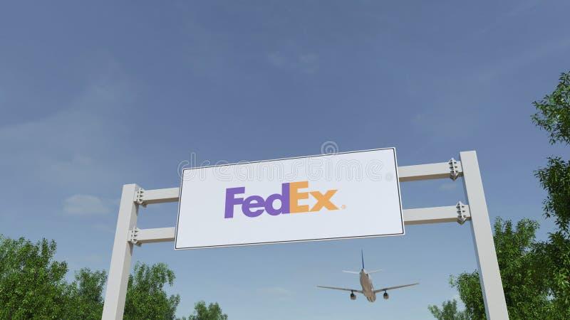 Vliegtuig die over de reclame van aanplakbord met Fedex-embleem vliegen Het redactie 3D teruggeven stock foto's