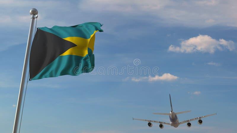 Vliegtuig die over vlag van de Bahamas vliegen Het Bahamiaanse toerisme bracht het 3D teruggeven met elkaar in verband vector illustratie