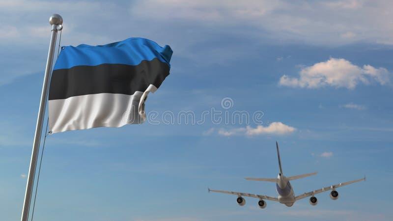 Vliegtuig die over vlag van Estland vliegen Het Estlandse toerisme bracht het 3D teruggeven met elkaar in verband royalty-vrije illustratie