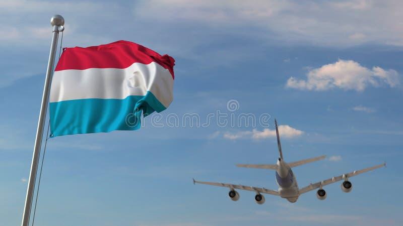 Vliegtuig die over vlag van Luxemburg vliegen Het Luxemburgse toerisme bracht het 3D teruggeven met elkaar in verband stock illustratie