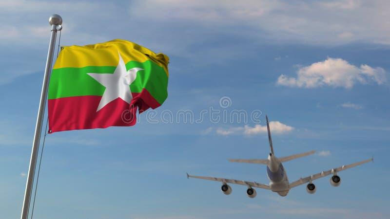 Vliegtuig die over vlag van Myanmar vliegen Het Myanmatoerisme bracht het 3D teruggeven met elkaar in verband royalty-vrije illustratie