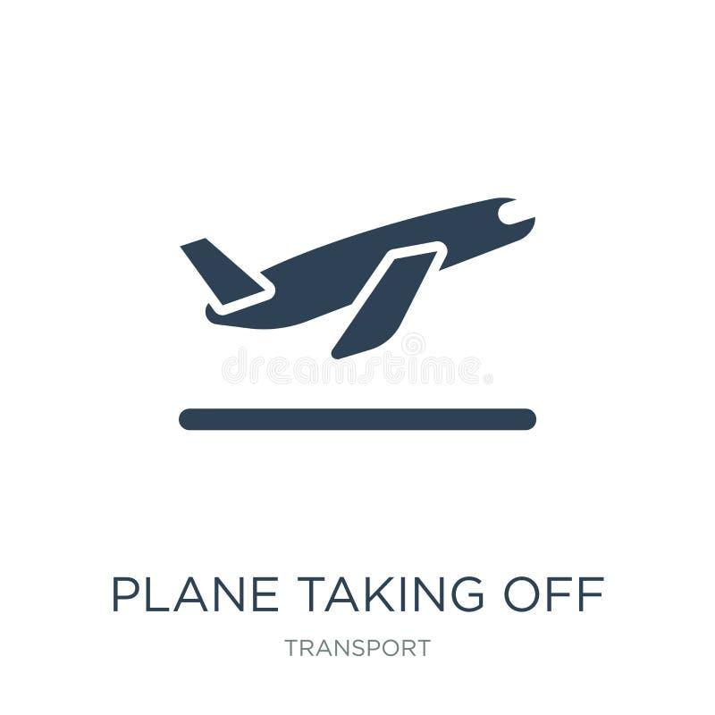 vliegtuig die pictogram in in ontwerpstijl van start gaan vliegtuig die die pictogram van start gaan op witte achtergrond wordt g stock illustratie
