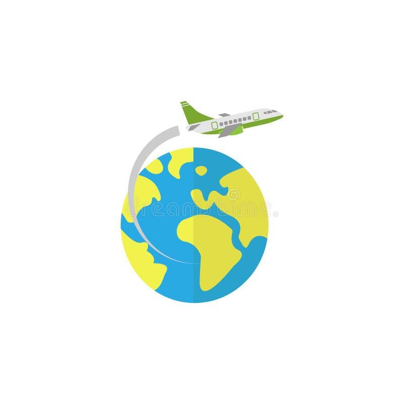 Vliegtuig die rond aarde vlak pictogram vliegen vector illustratie