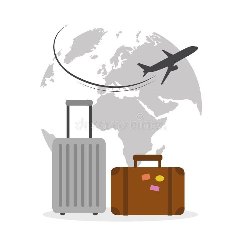 Vliegtuig die rond de bol met het concept van de kofferreis vliegen stock illustratie
