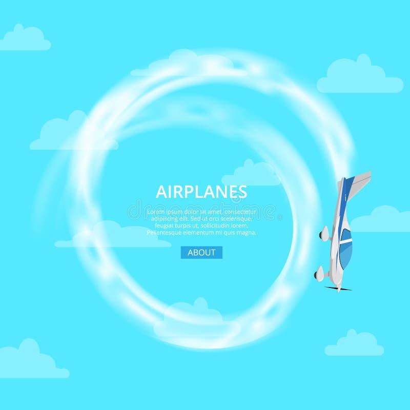 Vliegtuig die truc in hemel uitvoeren royalty-vrije illustratie