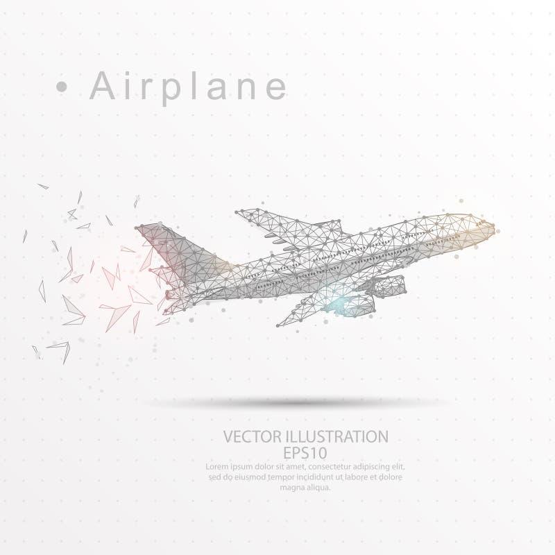 Vliegtuig digitaal getrokken het lage polykader van de driehoeksdraad stock illustratie