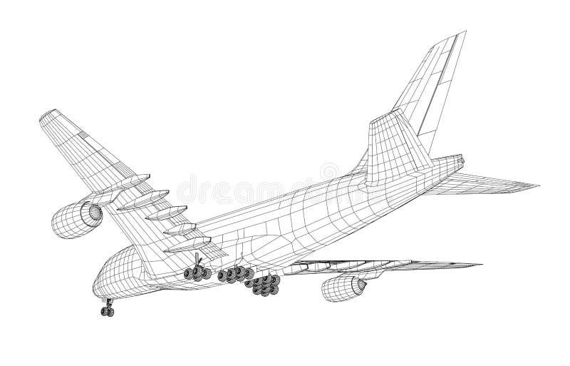 Vliegtuig in draad-kader stijl vector illustratie