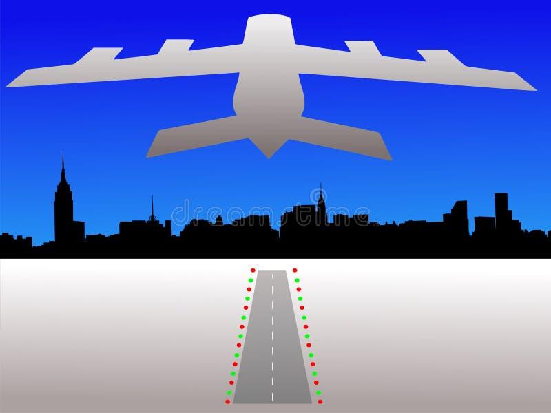 Vliegtuig en de horizon van Manhattan royalty-vrije illustratie