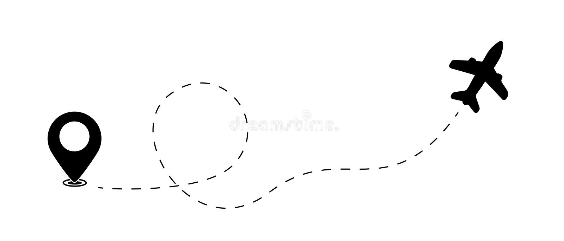 Vliegtuig en Kaartwijzer, Plaatsvinder, Reisconcept - Vectorillustratie die op Witte Achtergrond wordt geïsoleerd royalty-vrije illustratie