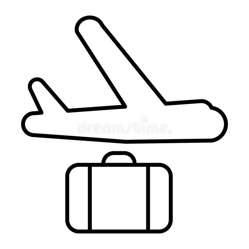 Vliegtuig en koffer dun lijnpictogram De vectordieillustratie van de vliegtuiglevering op wit wordt geïsoleerd Het ladingsvliegtu vector illustratie