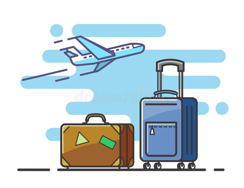Vliegtuig en kofferreis stock illustratie