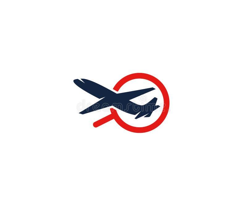Vliegtuig en meer magnifier embleemmalplaatje Zoek naar vluchten en vluchten vectorontwerp stock illustratie