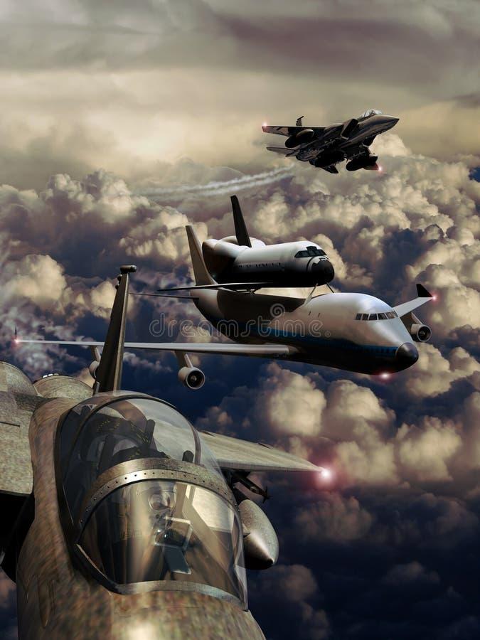 Vliegtuig en pendel stock illustratie