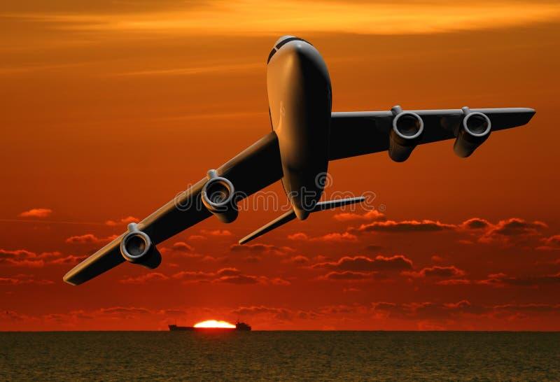 Vliegtuig en schip bij zonsondergang royalty-vrije illustratie