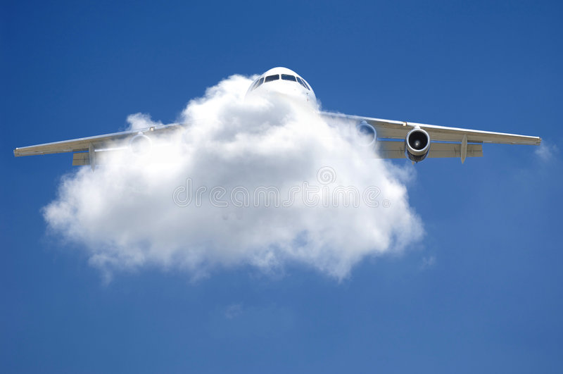 Vliegtuig en wolk royalty-vrije stock foto