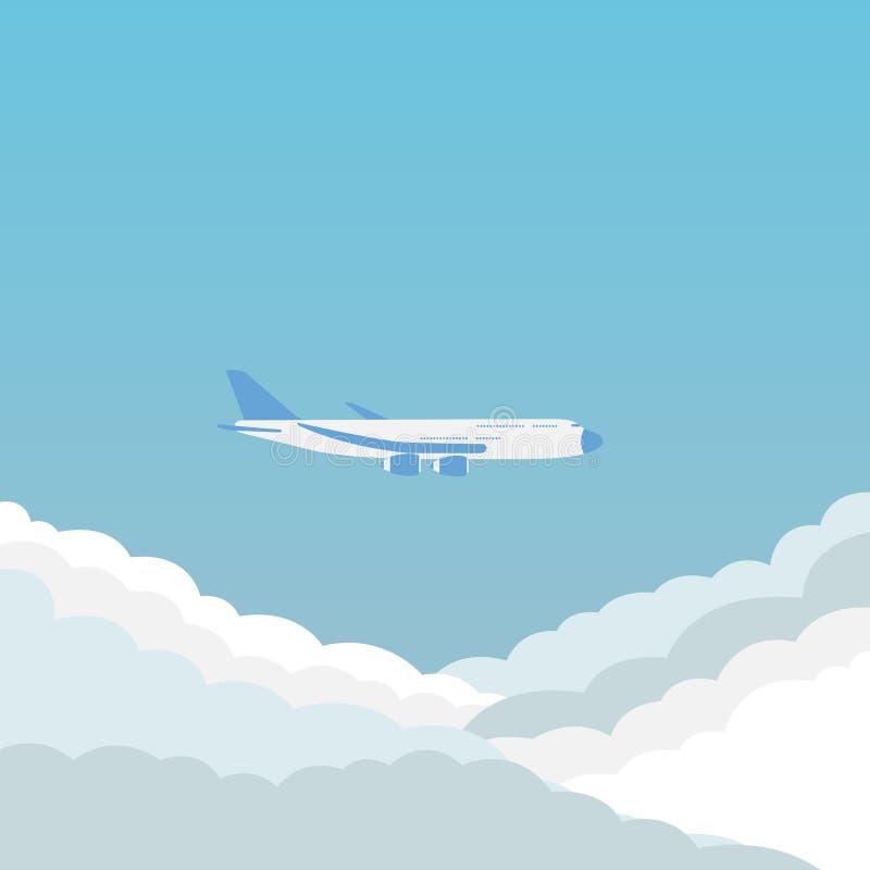 Vliegtuig en wolk in de hemel royalty-vrije illustratie