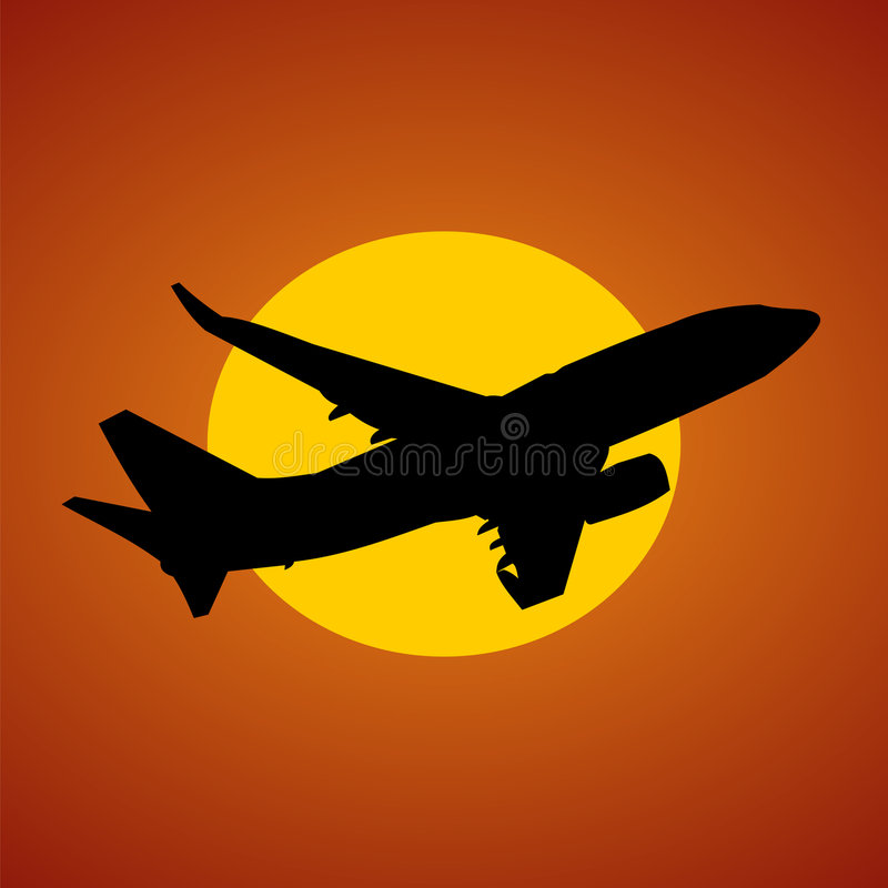 Vliegtuig en zonillustratie