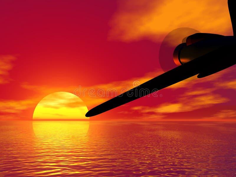 Vliegtuig en zonsondergang stock illustratie