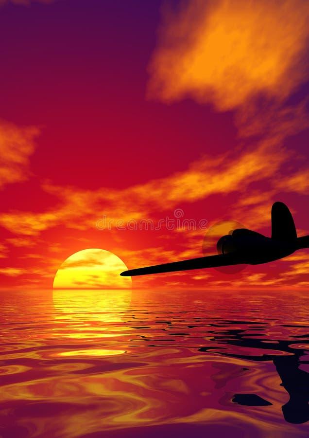 Vliegtuig en zonsondergang royalty-vrije illustratie