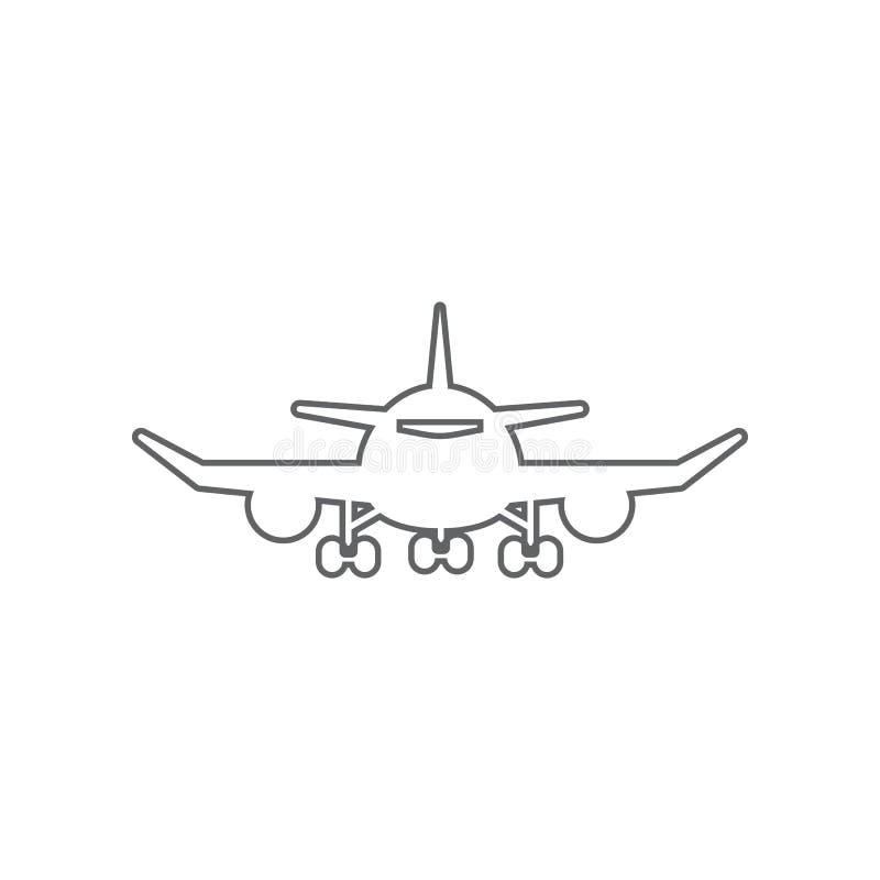 Vliegtuig Front View Icon Element van Luchthaven voor mobiel concept en webtoepassingenpictogram Overzicht, dun lijnpictogram voo vector illustratie