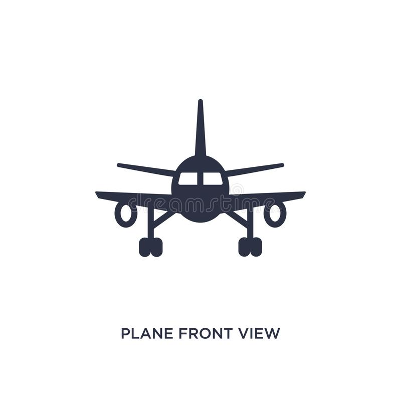 Vliegtuig Front View Icon op witte achtergrond Eenvoudige elementenillustratie van luchthaven eindconcept royalty-vrije illustratie