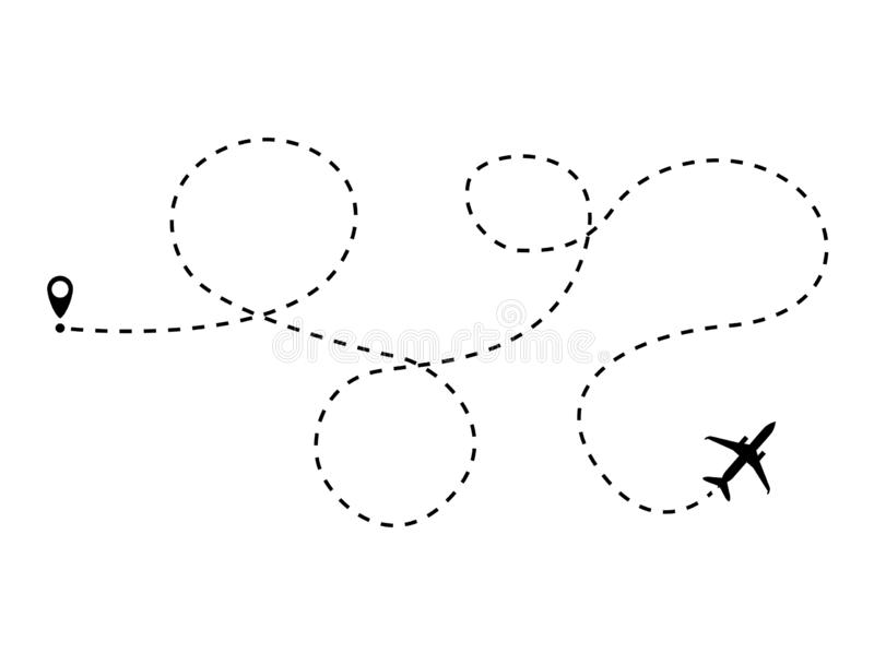 Vliegtuig gestippelde lijn vector illustratie