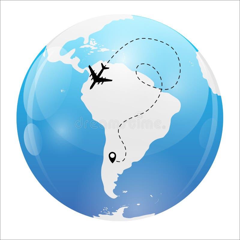 Vliegtuig gestippelde vluchtachtergrond boven wereldkaart Vector illustratie royalty-vrije illustratie