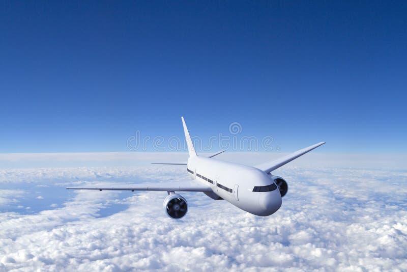 Vliegtuig in hemel stock afbeeldingen