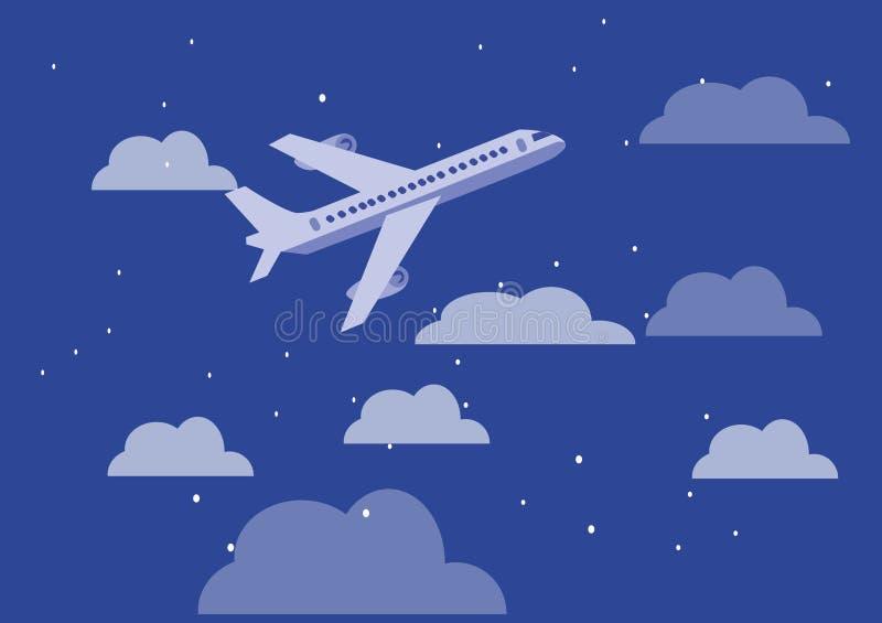 Vliegtuig in hemel vlak ontwerp royalty-vrije illustratie