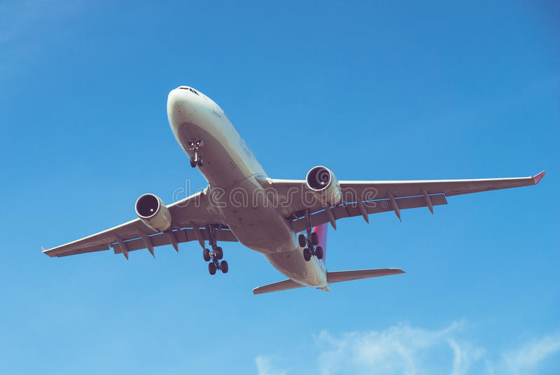 Vliegtuig het landen stock foto's