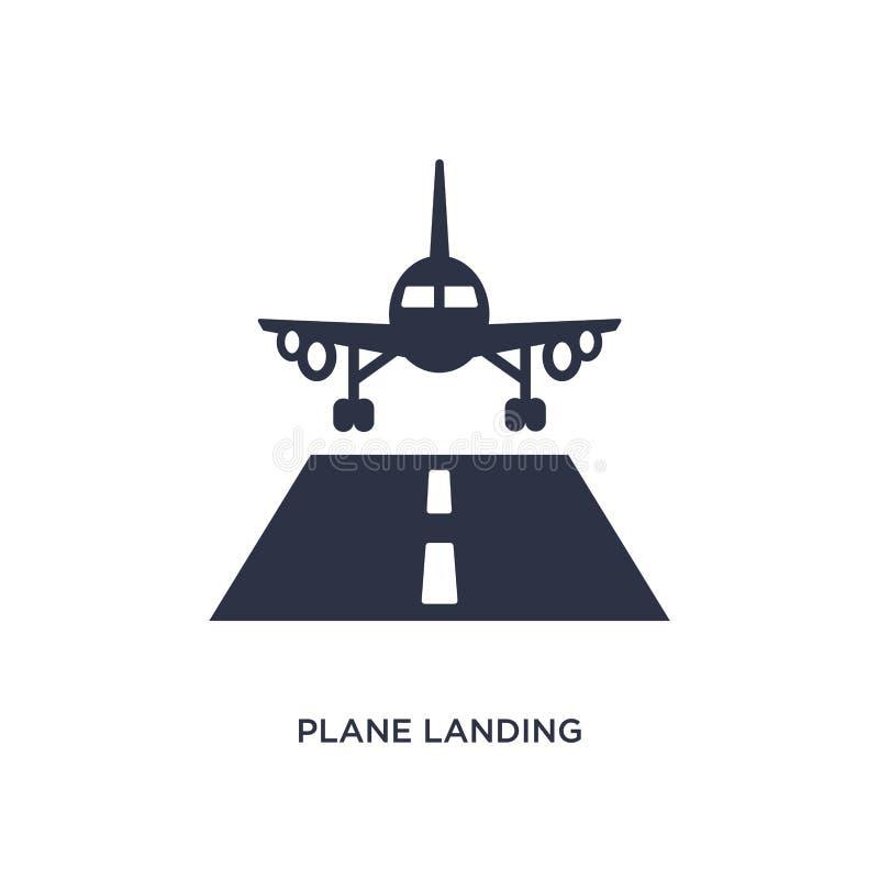 vliegtuig landend pictogram op witte achtergrond Eenvoudige elementenillustratie van luchthaven eindconcept stock illustratie