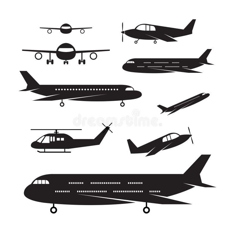 Vliegtuig, Lichte Jet Objects-silhouetreeks stock illustratie