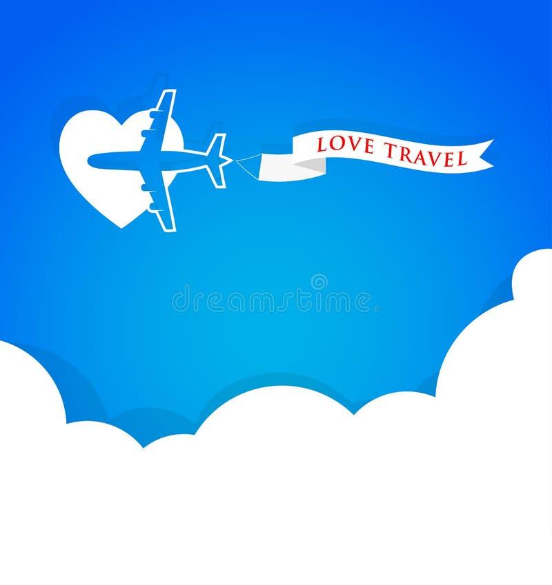 Vliegtuig met aankondigingsbanner en blauwe hemel, van de achtergrond liefdereis concept royalty-vrije illustratie