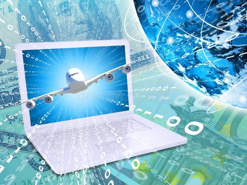 Vliegtuig met achtergrond van laptop en Aarde vector illustratie