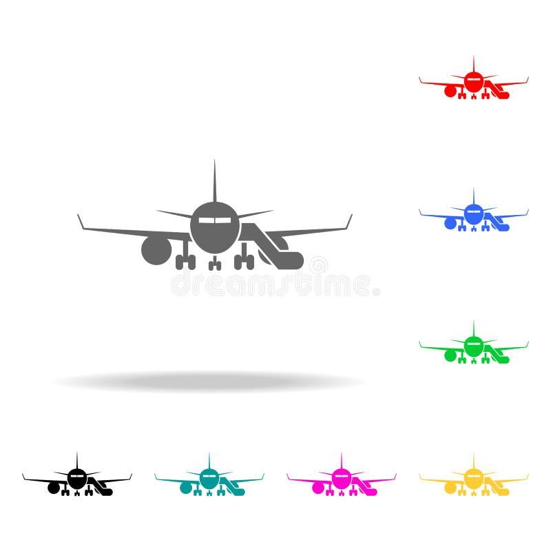 vliegtuig met doorgangspictogram Elementen van Luchthaven multi gekleurde pictogrammen Grafisch het ontwerppictogram van de premi stock illustratie