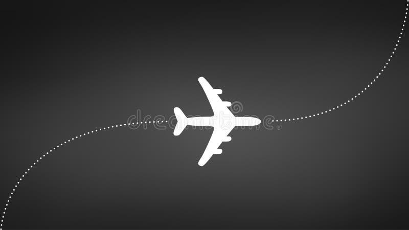 Vliegtuig met spoor, reisconcept, vectordieillustratie op witte achtergrond wordt geïsoleerd stock illustratie