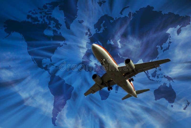 Vliegtuig met wereldkaart stock fotografie
