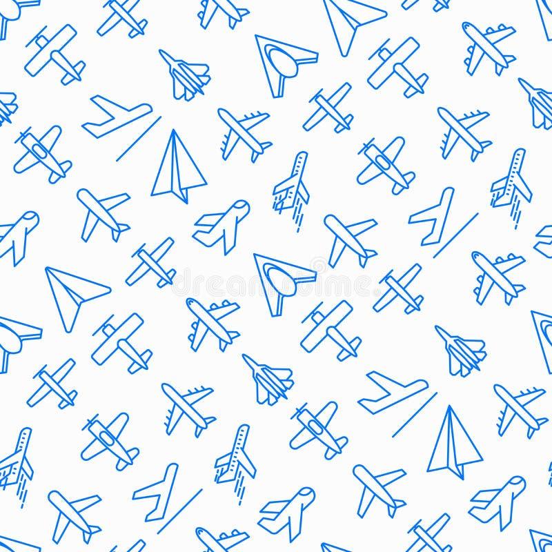 Vliegtuig naadloos patroon met dunne lijnpictogrammen vector illustratie
