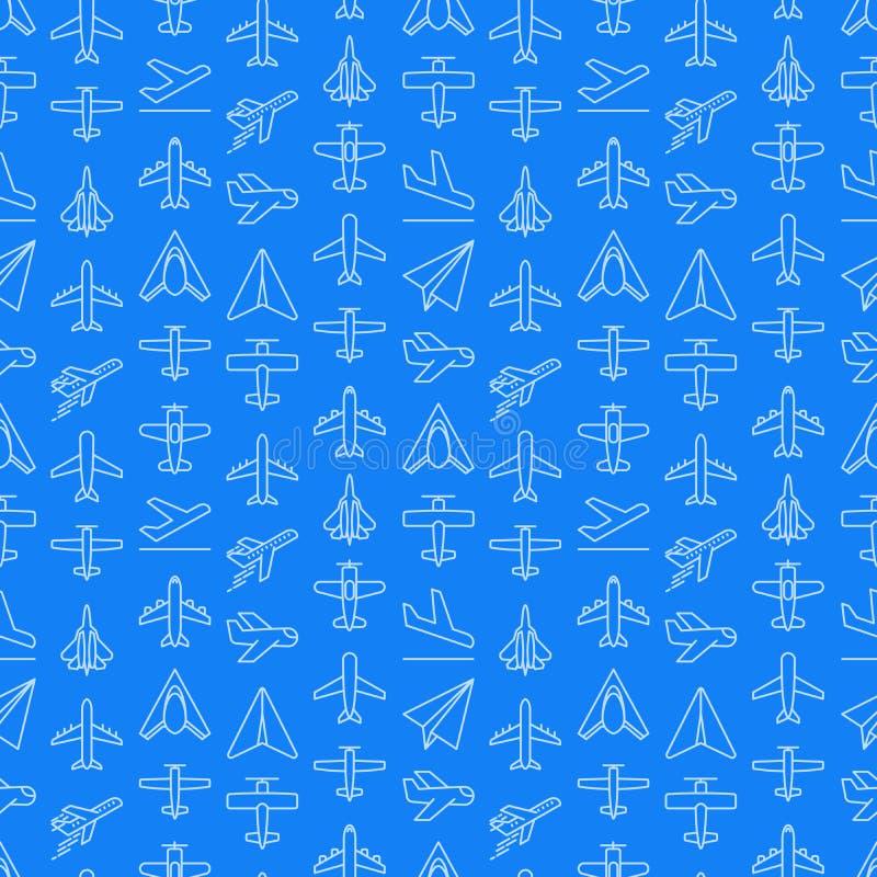 Vliegtuig naadloos patroon met dunne lijnpictogrammen royalty-vrije illustratie