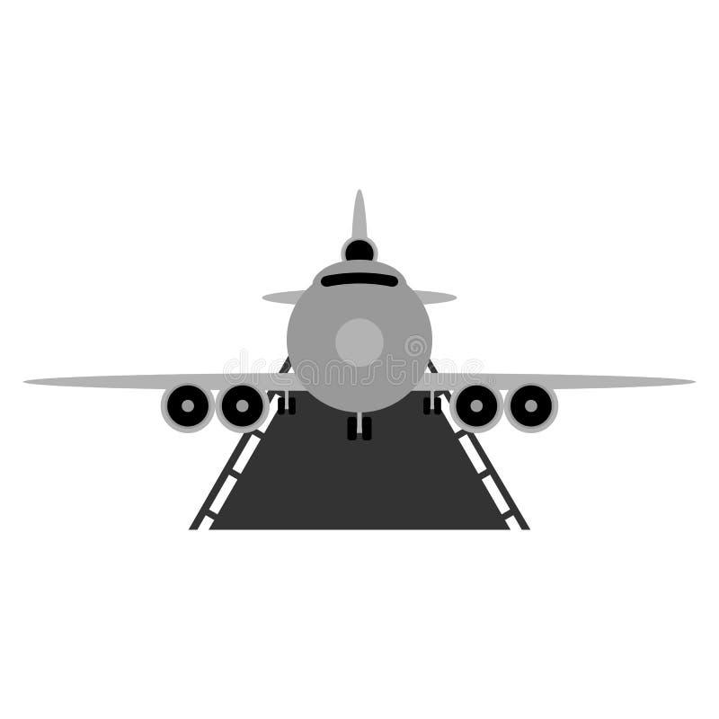 Vliegtuig op baan Vlakke vectorillustratie stock illustratie