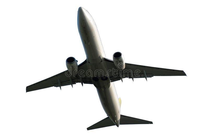 Vliegtuig op een witte achtergrond wordt geïsoleerd die stock foto