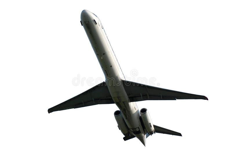 Vliegtuig op een witte achtergrond wordt geïsoleerd die stock fotografie