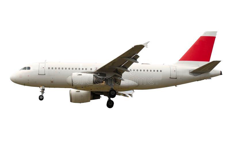 Vliegtuig op een witte achtergrond wordt geïsoleerd die royalty-vrije stock foto's