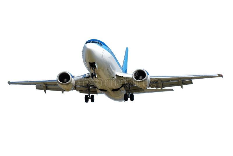 Vliegtuig op een witte achtergrond wordt geïsoleerd die stock afbeelding
