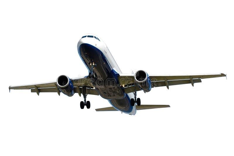 Vliegtuig op een witte achtergrond wordt geïsoleerd die royalty-vrije stock foto